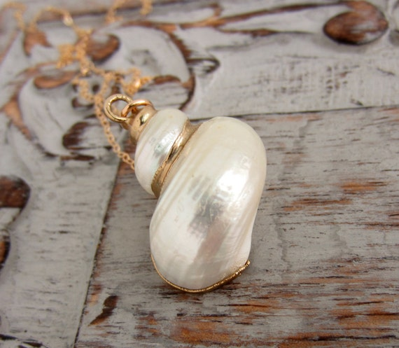 Gold Plated Sea Shell Necklace, 14k gold filled Chain, Beachy Ocean Necklace, Vintage Sea Shell Charm