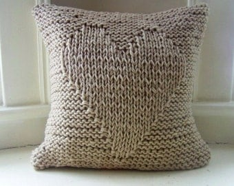 free shipping - heart knit pillow - knit pillow - heart pillow - warm - cozy - soft - valentines