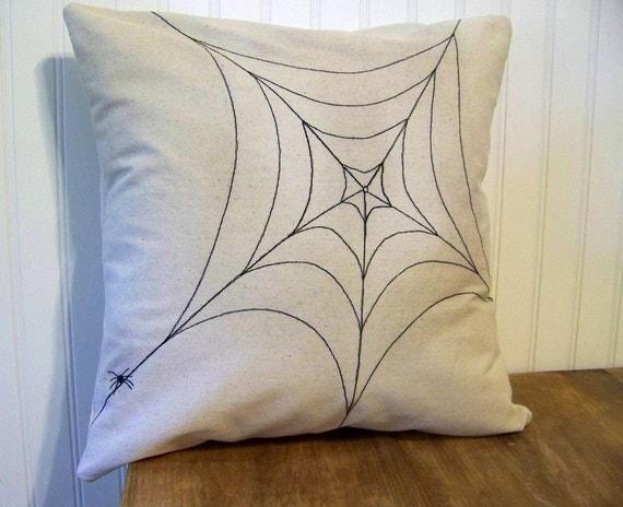 spider web halloween pillow - canvas - spooky creepy halloween decoration