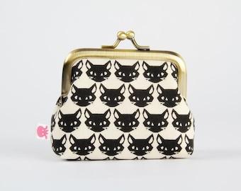 Metal frame change purse - Kitties on black - Deep mum / Cute dark cats faces / halloween / neon pink geometric