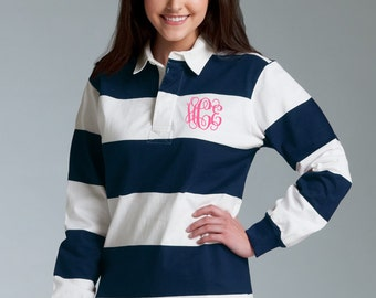 Monogrammed Navy Rugby Stripe Shirt