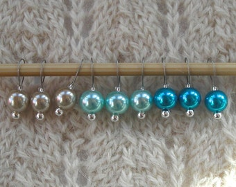 Knitting Stitch Markers - Simple Beach Blue Pearls - snag free - 8mm round pearl beads - set of 9 - available in two loop sizes