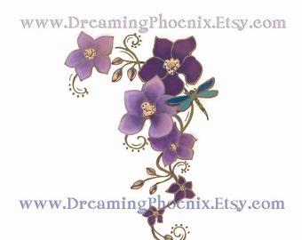 Custom Tattoo Design Flower Theme