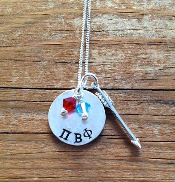 items similar to pi beta phi necklace with arrow charm