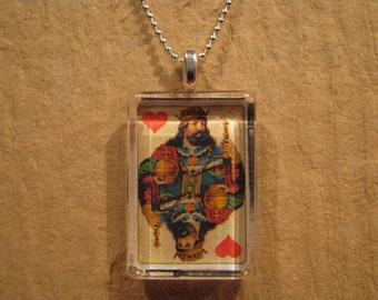 Antique Playing Card, King of Hearts Card, Glass Pendant, Deck of Cards, Card Playing Pendant, Rectangle Pendant, 24 Inch Ball Chain