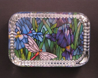 Blue and Purple Lily Dragonfly Stained Glass Heirloom Rectangle Glass Paperweight Home Decor