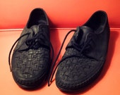 RESERVED FOR anekalin - Vintage Black Leather Woven Loafers
