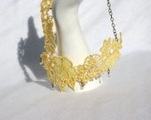 Princess NECKLACE - Venice - Yellow - Wedding - Valentines Day - Heart - Crystals Beads - Party- Embroidery Free Standing Lace