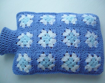 Hot Water Bottle Cover/Cosy in the colour Bluebell and White