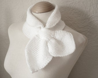 Ascot Bow Scarf in White