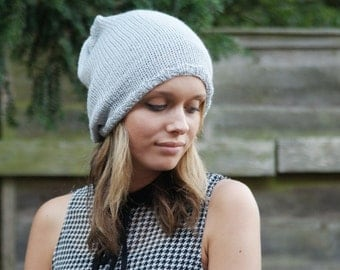 Hand Knitted Slouchy Beanie Vegan Tam Dreads Skater Light Grey Gray Hat