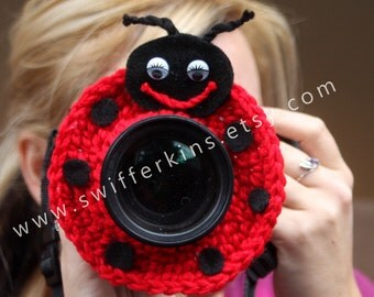 Camera lens buddy. Crochet camera critter ladybug. Photo prop