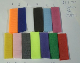 3/4 Hook n Loop 1 yard of each of 12 colors  12.00 (Velcro)