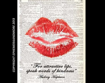 RED LIPS art print wall decor Audrey Hepburn Quote on Kindness pop retro movie beautiful hot lips on vintage dictionary book page 8x10, 5x7