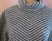 RESERVED  boho plush grey tones sweater, grey boxy turtleneck sweater, wide 3/4 sleeves warm sweater size Small made Hong Kong