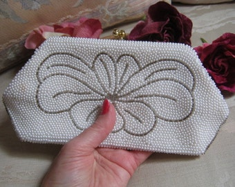 Vintage Small pearly white seed beaded clutch, bead clutch with chain, bronze bugle bead design bridal bag
