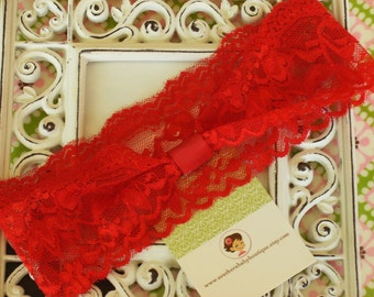 NEW ITEM----Boutique INTERCHANGABLE 2 inch Lace Girl Headband---Red