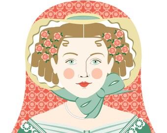 English Ivy Wall Art Print featuring culturally traditional dress drawn in a Russian matryoshka nesting doll shape