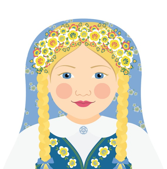 Swedish Wall Art Print features culturally traditional dress drawn in a Russian matryoshka nesting doll shape
