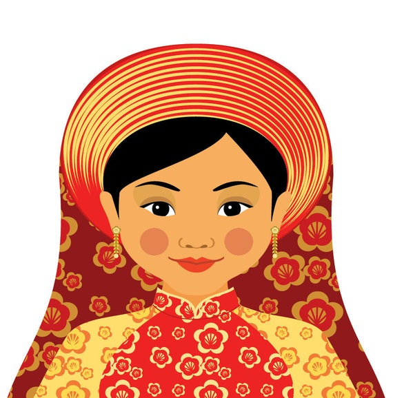 Vietnamese Fire Wall Art Print featuring traditional dress drawing in a Russian matryoshka nesting doll shape