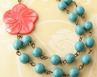 Flower Necklace Turquoise Jewelry Coral Necklace Statement Necklace Beaded Necklace Gift For Her Holiday Gift