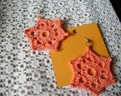six point star crochet cotton earrings