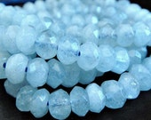 Aquamarine Faceted Rondelle, LUXE AAA, Gemstone Beads, Brides, Wholesale Beads  6x4mm approx, 3 inch strand