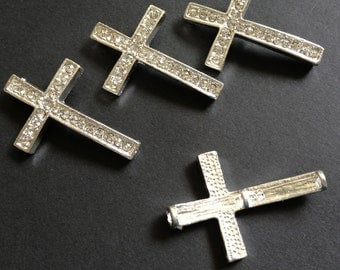 5 pcs - Rhinestone Silver Sideways Cross connector, pendant, link, charm - 37mm X 24mm
