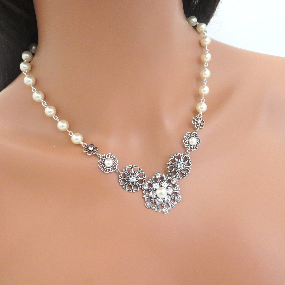 Pearl Necklace Styles: Bridal Pearl Necklace Vintage Style Necklace Wedding