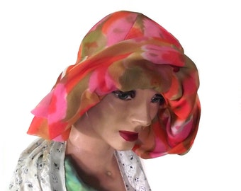 60s Summer Hat Vintage Gwenn Pennington Chiffon Hat
