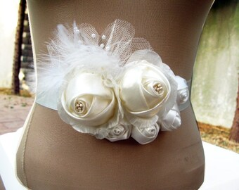So Pretty Wedding Sash, Bridal Sash with Ivory Fabric Flowers, Feather, Tulle, Pearls - OOAK