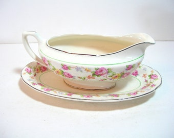 Crooksville China Company Floral Gravy Boat