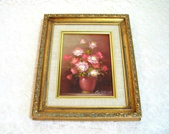 Romantic Vintage Flower Painting With Gold Frame