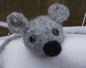 Mouse plush toy, hand knit felted mouse, mouse stuffed animal, toy mouse, soft mouse doll, woodland nursery decor, made to order
