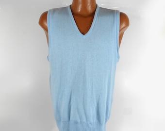 Knit Sweater Vest Vintage 1960s Penneys Orlon Baby Blue Men's