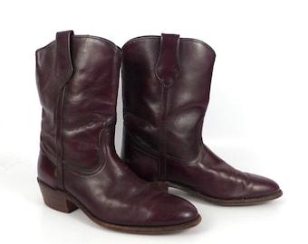 Frye Cowboy Boots Vintage 1980s Western Burgundy Mens size 9 1/2