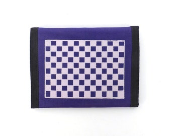 Checkerboard Velcro Wallet Vintage 80s 1980s Blue Purple Print Nylon