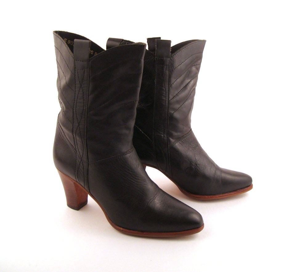s cowboy boots vintage 1980s black by