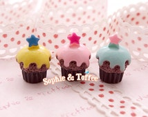 19mm Small Star Cupcake Miniature Sweets Deco - 6pcs