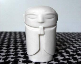 "Jizo - Polished white porcelain, 2.5"" tall Jizo statue"