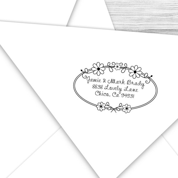 Custom address stamp with cute daisy border--137TS