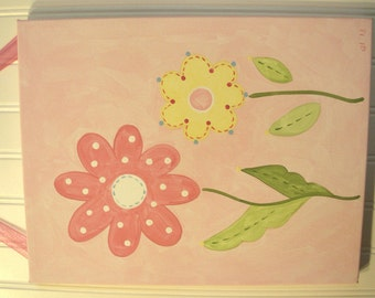 Daisy garden canvas painting 11 x 14 Original handmade Girl room decor Pink yellow flower Baby shower nursery Children wall art Kid bedroom