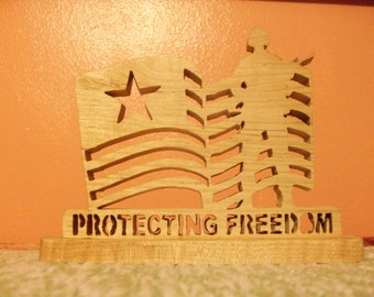 Protecting freedom wooden display