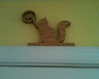 Wooden cat and butterfly door topper