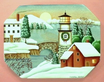 Winter Village Lighthouse Handpainted Wood Plaque 216