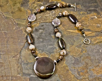 Handcrafted Agate, Blue Tiger's Eye, Quartz, Jasper, and Sterling Silver Necklace (N106)