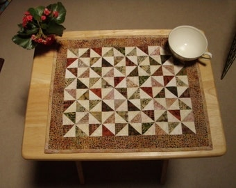 Table Decor Earth Tones Pinwheel Patchwork Broken DIshes Handmade Quiltsy