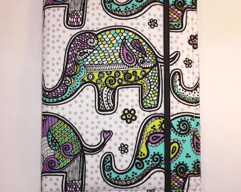Kindle cover Hardcover, Kindle Paperwhite Cover, iPad Mini, Nook Tablet Cover,  Book Style, Mosaic Elephants