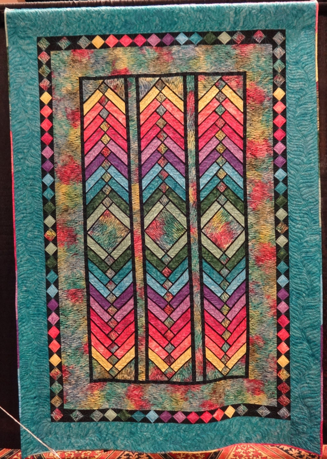 French Braid Stain Glass Jewels Quilt
