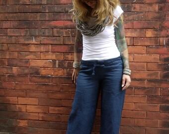 Navy Blue Women's Drawstring Low Rise Wide Leg Linen Pants Plus Size Linen Pant Linen Trousers Summer Pants Loose Pants Maternity Pants